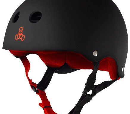 Triple Eight Helmet with Sweatsaver Liner, Black Rubber/Red, Medi...